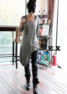 Gray Long Sleeve Round Neck Irregular Cotton T-Shirt
