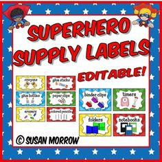 Superhero Theme Supply Labels - Superhero Theme Classroom Decor - Need to get more organized? This set of 140 classroom supply labels will help you organize and label everything in your classroom or homeschool! Teachers of preschool, Kindergarten, 1st, 2nd, 3rd, 4th, and 5th grade students will love the fun sunburst design. It's the perfect compliment to a superhero theme. Click through now for details! $