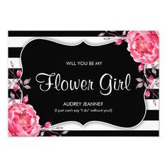 Black White Stripe Will You Be My Flower Girl Card