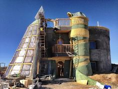 The Towers Earthship construction
