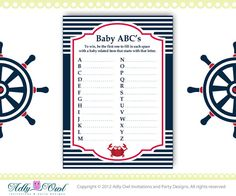 ABC's Game Nautical Baby Shower Game by adlyowlinvitations on Etsy, $4.00