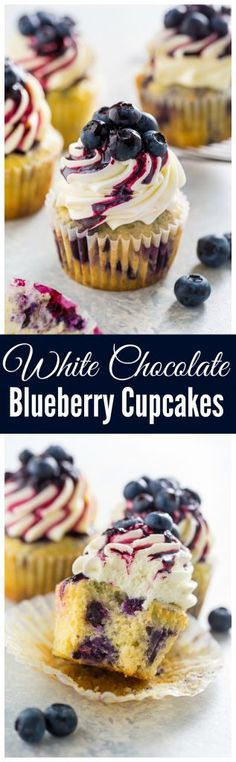Stunning and delicious, these White Chocolate Blueberry Cupcakes are a must bake for blueberry lovers!