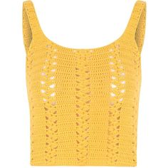 Yellow Crochet Vest Top (£26) ❤ liked on Polyvore featuring tops, shirts, yellow, yellow crop top, crochet tank, yellow top, crochet shirt and yellow tank top