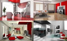 red and white rooms design | HOME DESIGN: Interior design ideas living room red and white ...