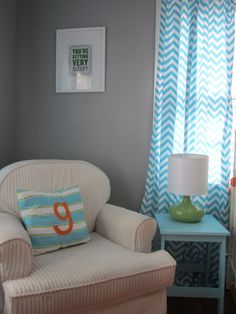 paint color - Sparrow by Behr;    love aqua and orange with touches of green!