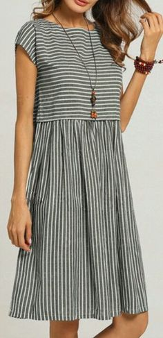 Buy Dresses For Women at Popjulia. Online Shopping Crew Neck Women Shift Daily Gathered Striped Short Sleeve Printed Casual Plus Size Linen Dress, The. Linen Dresses, Cotton Dresses, Daytime Dresses, Summer Dresses, Dressy Dresses, Dress Casual, Casual Outfits, Stylish Plus, Buy Dress