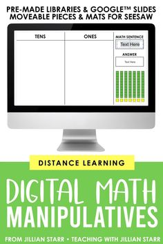Digital Math Manipulatives for 1st, 2nd, and 3rd grade teachers! Help students deepen their understanding of math concepts virtually with 50  pre-made interactive math mats and resource libraries in Google Slides! It also includes ALL of the image files of the manipulatives and math math mats so you can create ENDLESS distance learning activities for your students in Google Slides or Seesaw! #distancelearning #seesaw #googleslides #googleclassroom Teaching Activities, Teaching Resources, Teaching Ideas, Tens And Ones, Math Manipulatives, Math Math, Mega Pack, Math Concepts, Seesaw