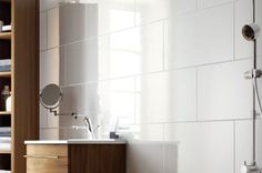 Large tile - exmoor high gloss large white bathroom and kitchen ceramic wall tile Large White Tiles, White Brick Tiles, White Wall Tiles, White Bathroom Tiles, Small Bathroom, White Walls, Bath Tiles, Shower Tiles, Bad Inspiration