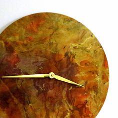 Unique Wall Clock  Autumn Colors Gold Orange Purple by Shannybeebo, $50.00