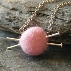 Knitting Jewelry - Pink Yarn and Knitting Needles Necklace, Gifts for Knitters, LAST ONE - 'Love to Knit'
