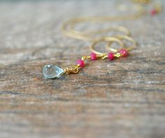 Dainty aquamarine dangle necklace Gemstone teardrop Minimalist thin gold necklace Ruby chain necklace Delicate Y necklace Simple jewelry