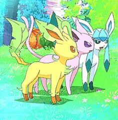 Leafeon, Glaceon, and Espeon