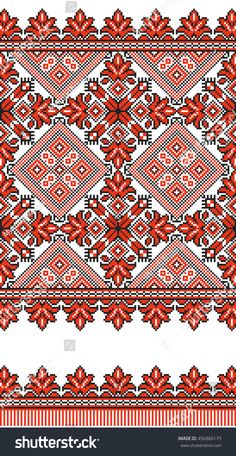 Cross Stitch Borders Embroidered old handmade cross-stitch ethnic Ukrainian pattern. Towel with ornament, called rushnyk in vector - Cross Stitch Borders, Cross Stitch Kits, Cross Stitch Charts, Cross Stitch Designs, Cross Stitching, Cross Stitch Patterns, Folk Embroidery, Cross Stitch Embroidery, Embroidery Patterns