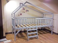 Montessori bunk bed custom attic high house bed with stairs - Perfect house bed for the kids bed room or play room | Kids house Bed | Toddler House Bed | Play and Bed House (Affiliatelink - I will earn a small commission if you purchase through this link - no additional cost for you)
