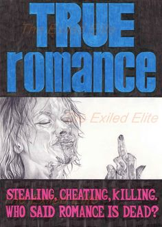 TRUE ROMANCE - Pencil drawn alternative movie posters of cult and classic films True Romance, Romance Movies, Love Actually 2003, Movie Color Palette, Orange Quotes, Excellent Movies, Alternative Movie Posters, Cult Movies, Book Tv