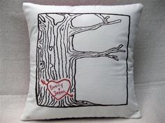 heart -- tree print pillow cover -- personalized with your names or initials this is the PERFECT pillow!this is the PERFECT pillow! Valentine Day Gifts, Valentines, Valentine Pillow, Diy Wedding Gifts, Wedding Ideas, Personalized Wedding, Wedding Photos, Heart Pillow, Pillow Talk