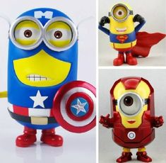 Despicable Me 2 - Captain America& Iron Man& Superman Minions Poseable Figures (3) @ niftywarehouse.com