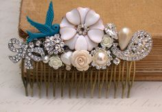 Blue Hair Comb Vintage Wedding Hair Comb Wedding by vintagebynina
