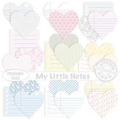 Clipart Labels Digital Sticky Note Post it Notes Lined Memo Hearts Cute Reminders School Office Unlimited Commercial Use Royalty Free by PrintableTales on Etsy