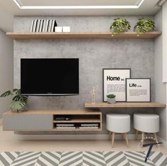 Excellent small living room designs are offered on our site. Take a look and you will not be sorry you did. Living Room Tv Wall, Living Room Tv, Living Room Tv Unit Designs, Small Living Room Decor, Living Room Diy, Living Room Designs, House Interior, Room Design, Apartment Decor