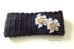Crochet Headband Earwarmer Lace Sparkle by BellaJulieBoutique