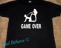Game Over Adult T-Shirt Game over Bachelor party by OwlBehave