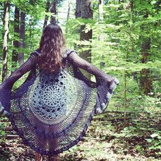 """Joni"" bell sleeve crochet lace duster, made from #recycled cotton sweater yarn and #handspun merino - available in the shop, link in bio <3  #lotusduster #mandaladuster #laceduster #recycledartist #recycledsweatercoat #upcycling #madewithlove #moralefiber #bellsleeves #hippie #magic #witchy #festivalstyle #burn"