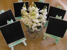 6 Mini Wooden Wedding Chalkboard Signs & Easels Distressed Rustic Inspired…