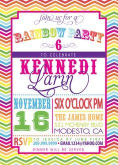 RAINBOW PARTY INVITATION by SLDESIGNTEAM on Etsy, $18.00