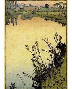 Frank Morley Fletcher (British/American, Meadowsweet, c. 1930 Color woodcut print on Japanese paper, 10 x 6 inches, from the edition of Japanese Prints, Japanese Art, Landscape Art, Landscape Paintings, Linocut Prints, Art Prints, Block Prints, Illustrations, Illustration Art