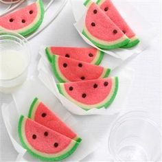 Watermelon Slice Cookies Recipe -When I made these butter cookies for a party, a neighbor thought they were so attractive that she froze one to show friends. —Sue Ann Benham, Valparaiso, Indiana