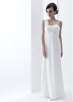 Buy discount Elegant Chiffon Spaghetti Straps Neckline Inverted Basque Waistline Sheath Wedding Dress With Beadings & Handmade Flowers at Dressilyme.com