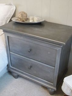 DIY [Restoration Hardware Inspired] Faux Zinc Nightstand - tutorial - also see July 22, 2010 post for updates on this technique.