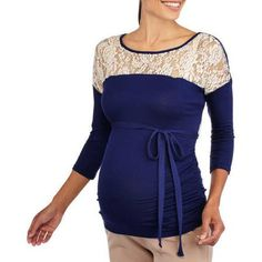 Planet Motherhood Maternity 3/4 Sleeve Top with Lace Shoulder Detail and Side Ruching - Walmart.com
