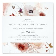 Simple Floral Square Wedding Invite with a moody and romantic boho tone in rustic blush pink, burgundy and marsala flowers. Click to customize with your personalized details today. Whimsical Wedding, Floral Wedding, Rustic Wedding, Watercolor Wedding, Watercolor Flowers, Casual Wedding, Fall Wedding, Square Wedding Invitations, Autumn Rose