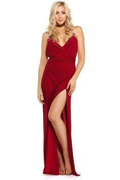 Dahlia Red Slit Formal Dress   WindsorCloud