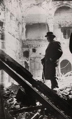 Winston Churchill inspecting bomb damage during