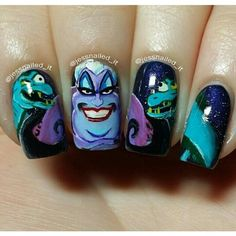 Square ursula little mermaid nail art
