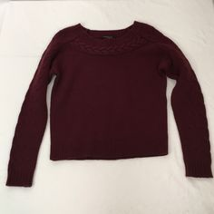 """ANN TAYLOR $98  Cable Trim Sweater New, Unworn condition; tags attached.  Perfectly placed cable trim cozies up this must-have, enriched with luxe wool and cashmere for incredible softness. Jewel neck. Long dolman sleeves. Drop shoulders. Ribbed neckline, cuffs and hem.      Bust 37"""" unstretched/  length 21"""" (runs short) Ann Taylor Sweaters Crew & Scoop Necks"""
