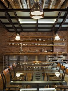 Design Dining Room Brick Wall Dining Table Industrial Kitchens