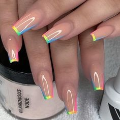 Simple Acrylic Nails, Best Acrylic Nails, Summer Acrylic Nails, Stylish Nails, Trendy Nails, Glow Nails, Fire Nails, Sparkle Nails, Rainbow Nails