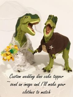 Custom dinosaur cake topper.  Send a picture of your dress and suit and I'll make your dinosaur's clothes to match.  #bestcaketopper #dinosaurwedding #weddingcaketopper #dinosaur #dinosaurcaketopper