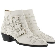 Chloé Boots & Booties - Susanna Nappa Boots White Cloud - in white -... ($1,035) ❤ liked on Polyvore featuring shoes, boots, ankle booties, ankle boots, white, block-heel ankle boots, buckle ankle boots, chloe booties and zipper boots