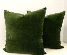 Moss Green Cotton Velvet Pillow Cover, Green Pillows, Decorative Pillows, Green Velvet Cushion Couch Sofa Covers, Green Velvet Throw Pillows