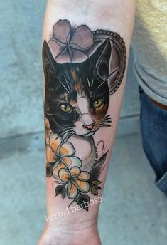 cat and flower by tattooneos