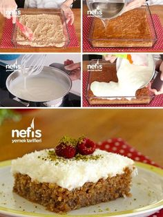 Cyprus to Turkey Sevdir Dessert Recipes (Video-Visual) – Yummy Recipes - Obstkuchen Yummy Recipes, Cake Recipes, Dessert Recipes, Yummy Food, Easy Holiday Recipes, Holiday Desserts, No Bake Desserts, Summer Salads With Fruit, Food Items
