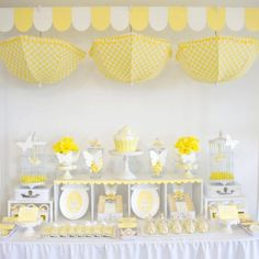 """yellow  baby shower love the little yellow and white unbrellas! I love the upside down umbrellas. Perfect for """"You are My Sunshine."""""""