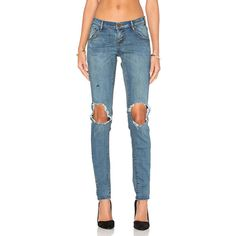 One Teaspoon Loonies Denim ($138) ❤ liked on Polyvore featuring jeans, destroyed denim jeans, torn jeans, destructed jeans, destruction jeans and blue jeans
