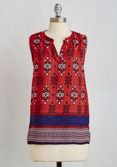 Takes Tucson to Tango Top - Red, Novelty Print, Print, Casual, Sleeveless, Fall, Woven, Good, V Neck, Mid-length