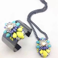 Hand made neon beads necklace and cuff set